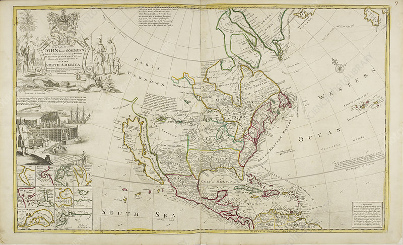 Map of North America dated 1715