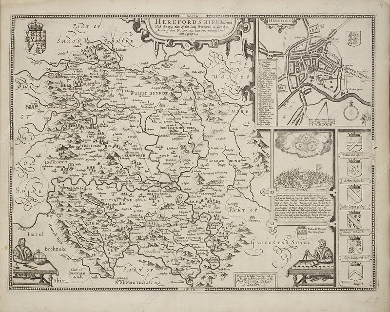 A map of Herefordshire drawn in 1714