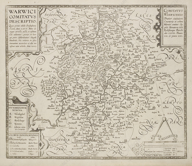 Map of Warwickshire and Warwick