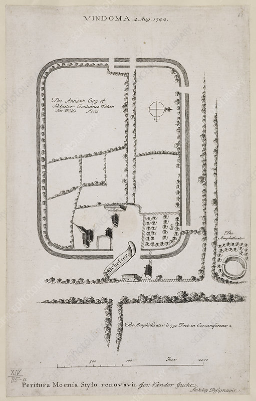 Plan of Silchester, Hampshire in 1722