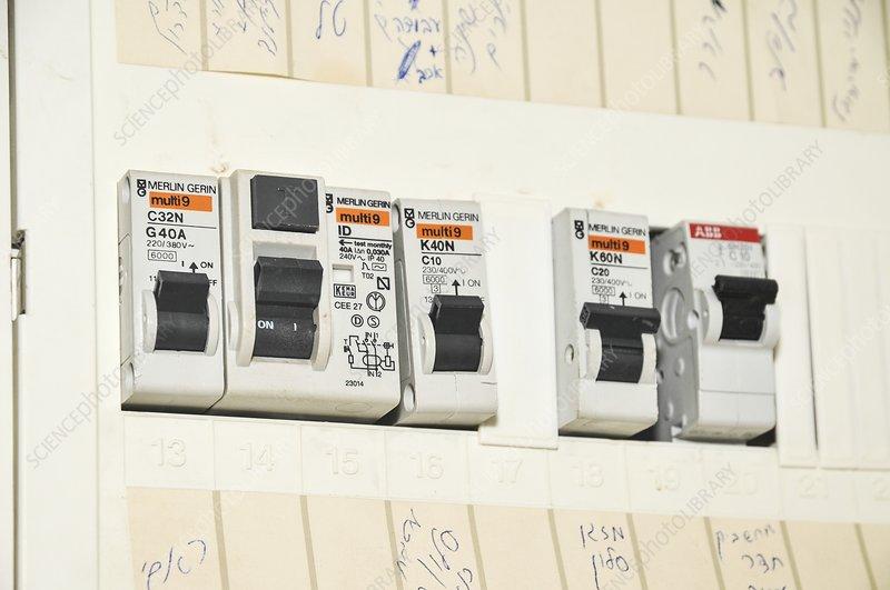 Domestic Fuse Box Fuses : Domestic fuse box stock image c  science photo