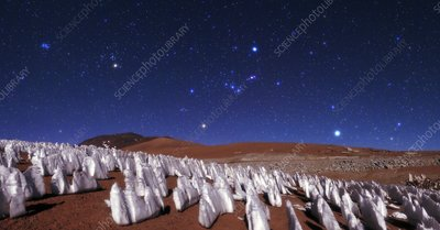 Andean ice field at night