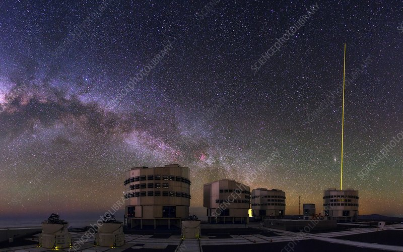 Milky Way, VLT telescopes and laser guide