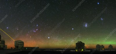 Night sky over VLT telescopes