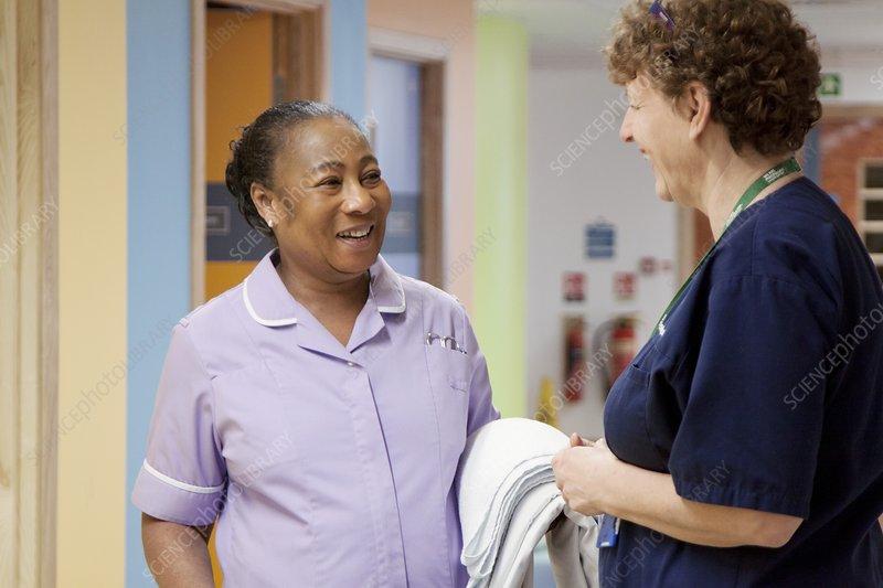 Hospital nurse and cleaner