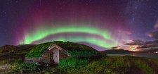 Auroral over Viking house, Greenland