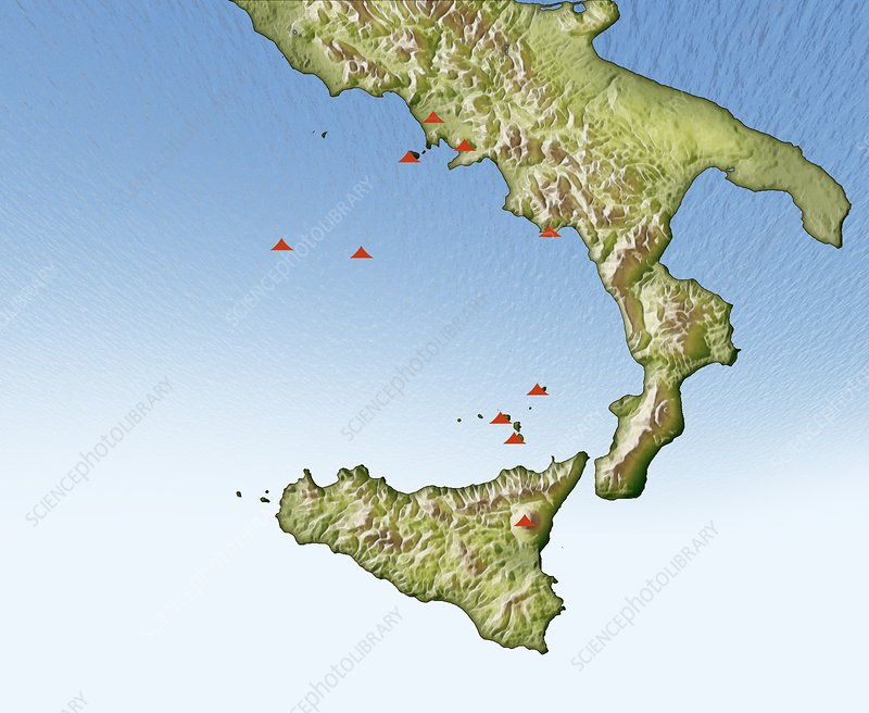Volcanoes in Italy, illustrated map