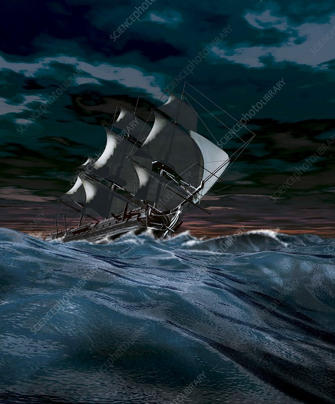 Sailing ship in rough weather, artwork