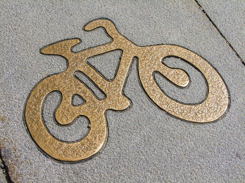 Metal cycle lane street sign, Stockholm