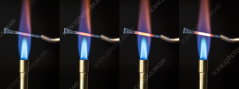 Steel nail heated in a Bunsen flame