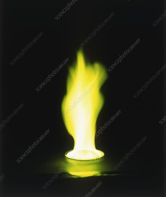 Yellow flame created by burning barium