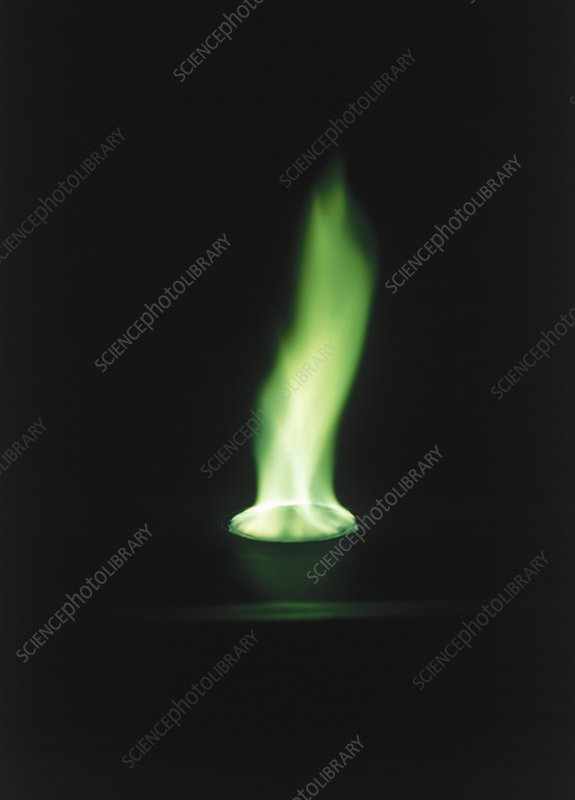Green flame, copper salts burning