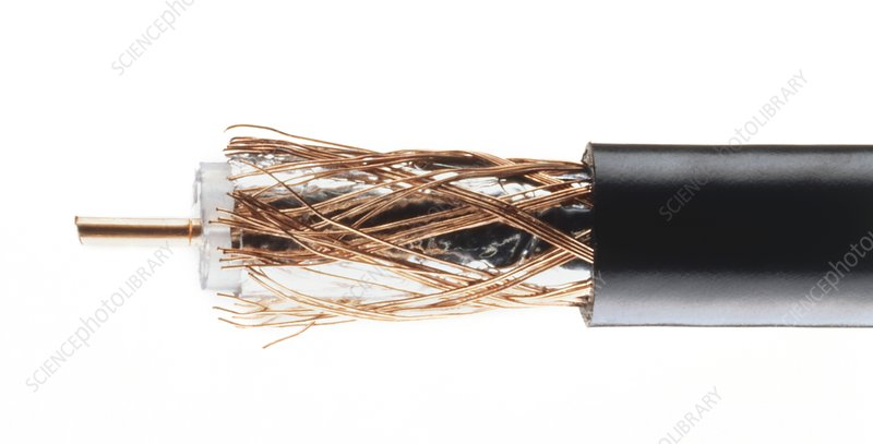Coaxial cable with wires exposed