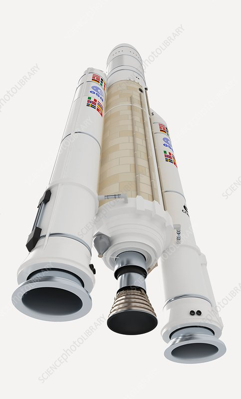 Ariane 5 space rocket, low angle view
