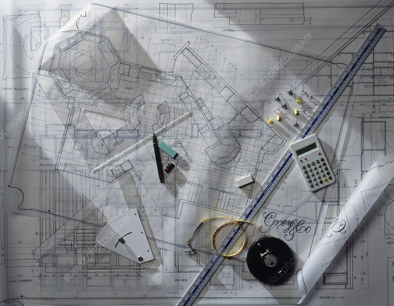 Architectural blueprints with rulers