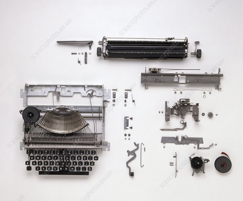 Expanded view of typewriter parts