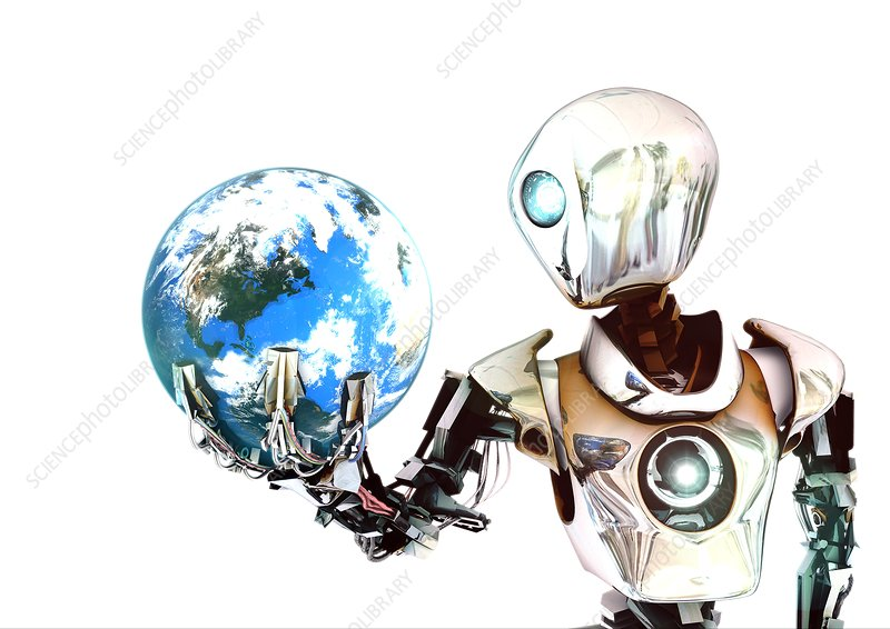 Robot lamenting Earth, conceptual image