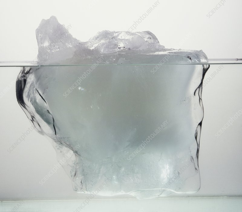 Block of ice in water