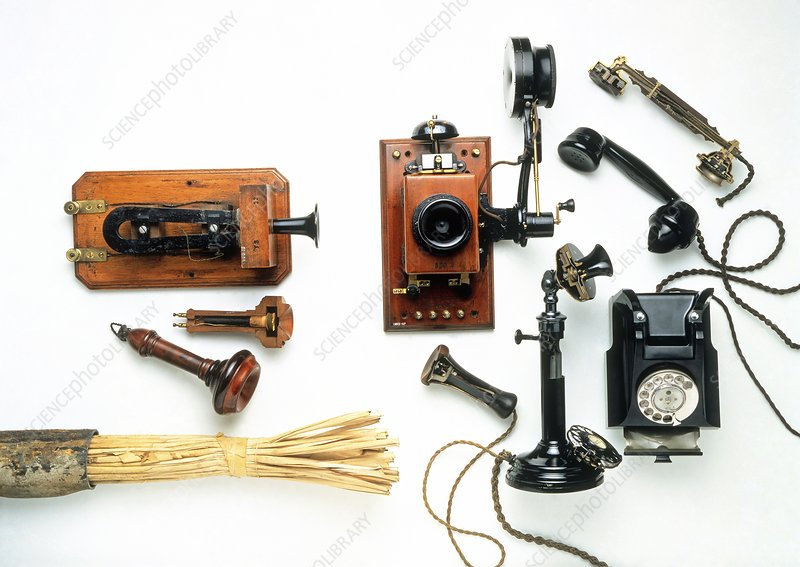 Collection of early telephones