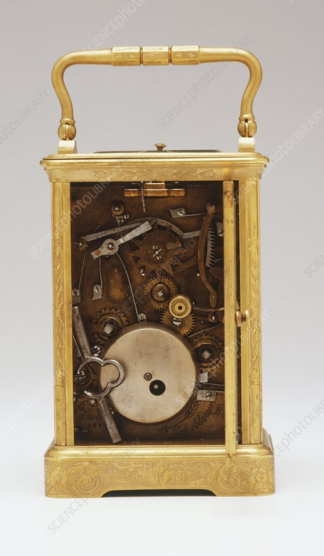 Rear view of clock, back open