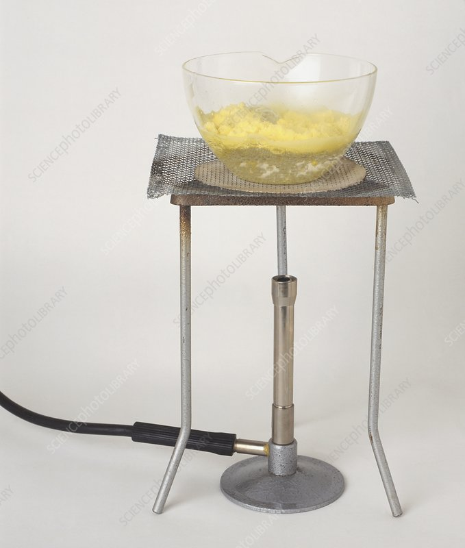 Glass dish with suspension of sulphur