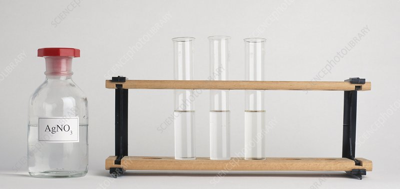 Three test tubes on rack and AgNO3