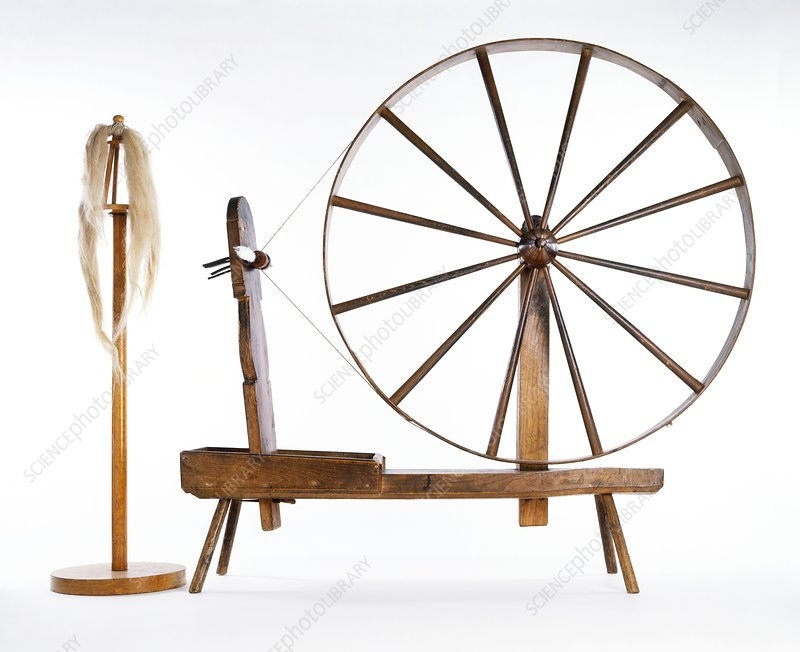 Spinning wheel and wool