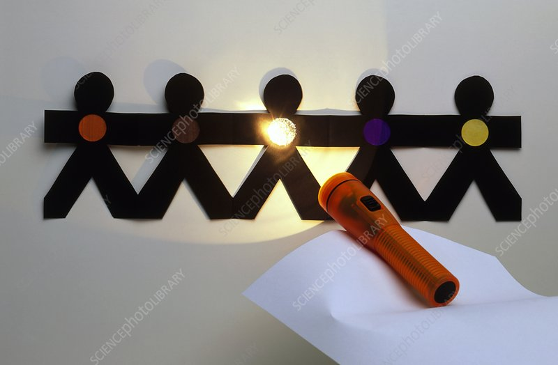 Shining a torch on paper chain