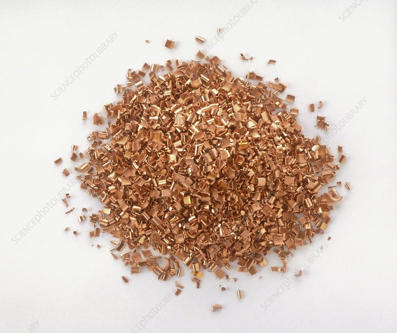 Pile of copper shavings