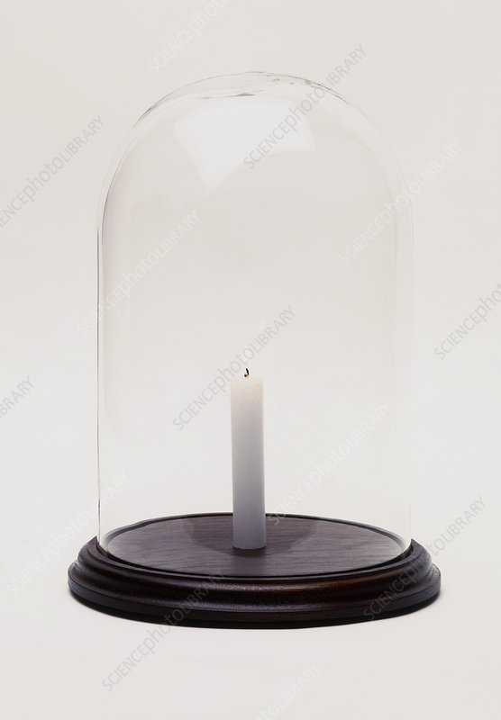 Lit candle in bell jar