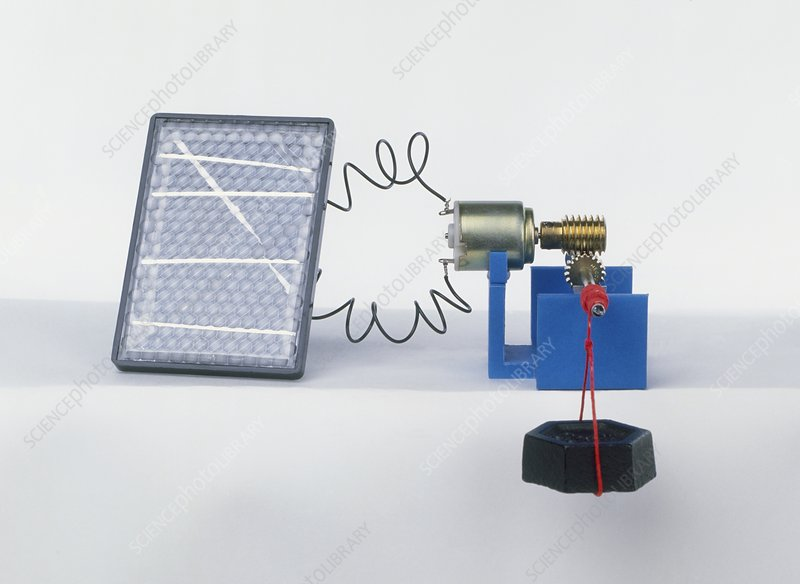 Solar panel, electrical motor