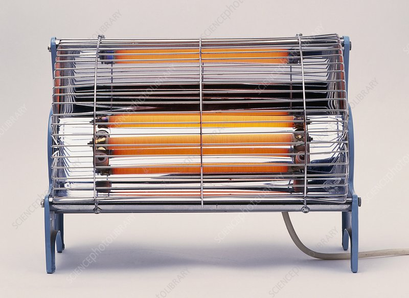 Electric bar heater, with bars glowing