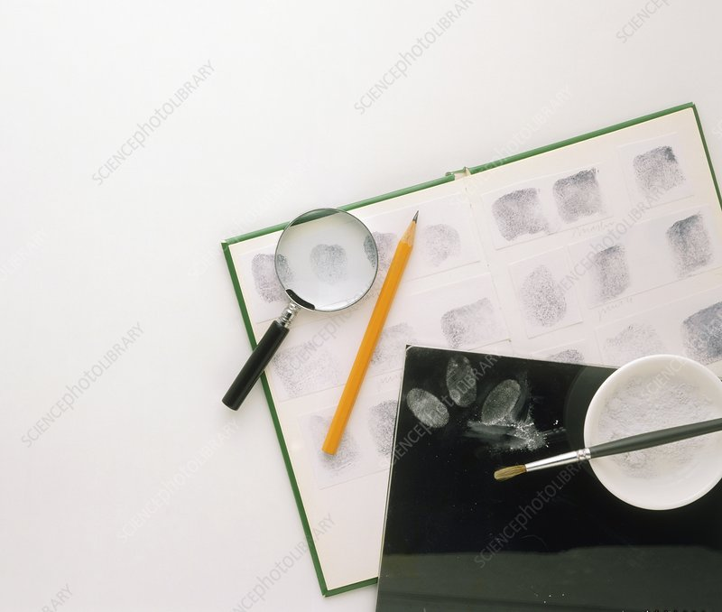 Magnifying glass, pencil, ink pad, talc