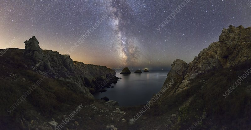 Milky Way over coastal rocks