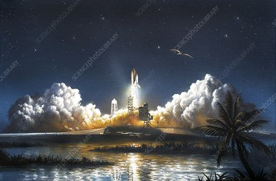 Space Shuttle launch, artwork