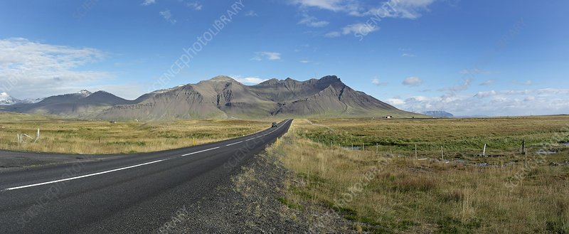 Dormant volcano and road, Iceland