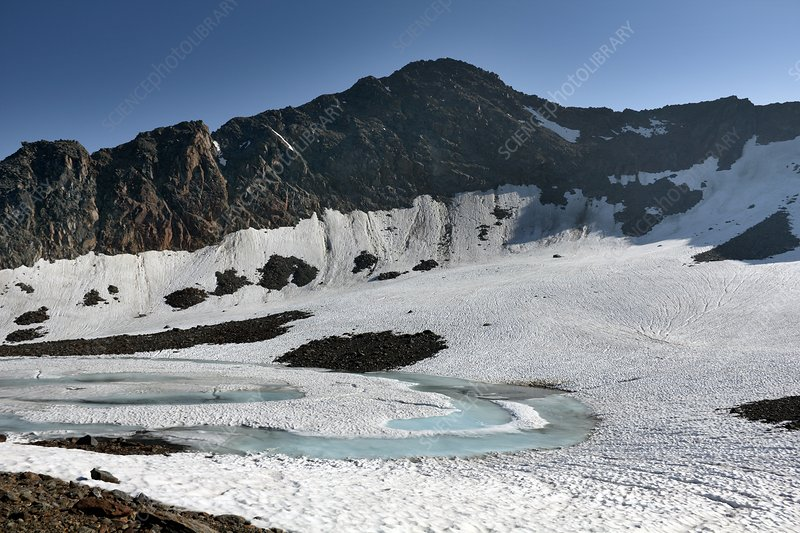 Frozen mountain lake, Austrian Alps