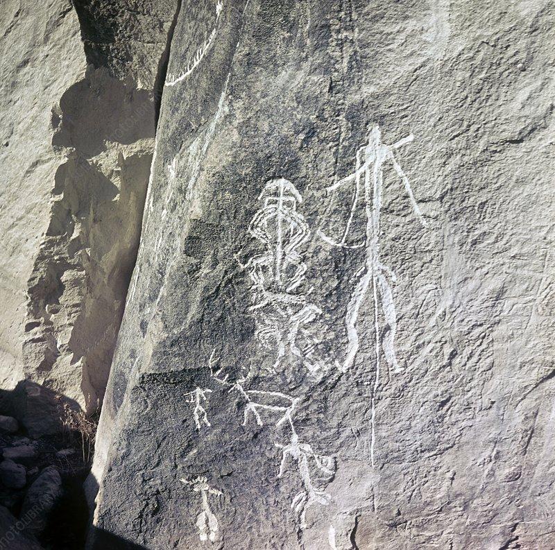 Prehistoric rock carvings gobustan stock image c