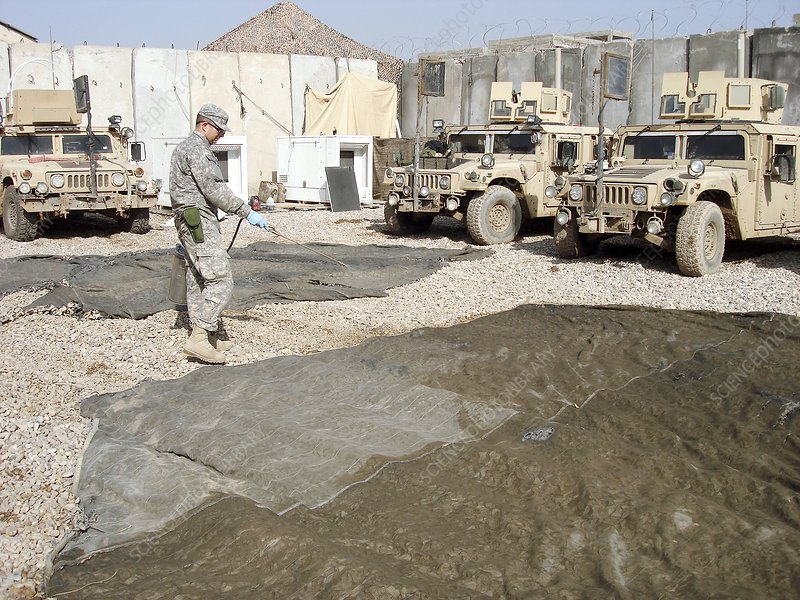 Pesticide treatment, Iraq military base