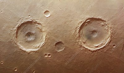 Twin craters, Mars, satellite image