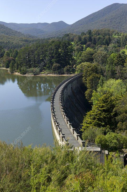 The dam wall of Maroondah reservoir
