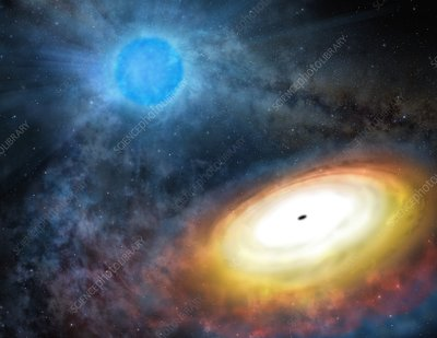 Wolf-Rayet star and black hole, artwork