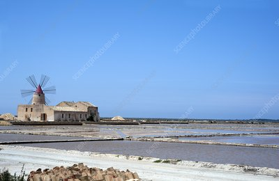 Salt pan windmill, Sicily