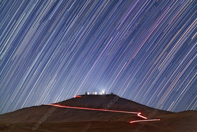 Star trails over Cerro Paranal telescopes