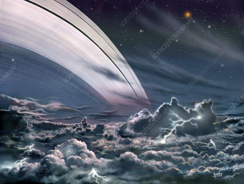 Gas giant planet's rings, artwork - Stock Image C020/2250 ...