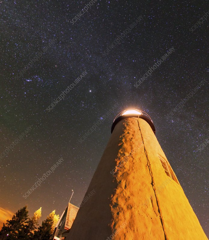Pemaquid Point lighthouse and night sky
