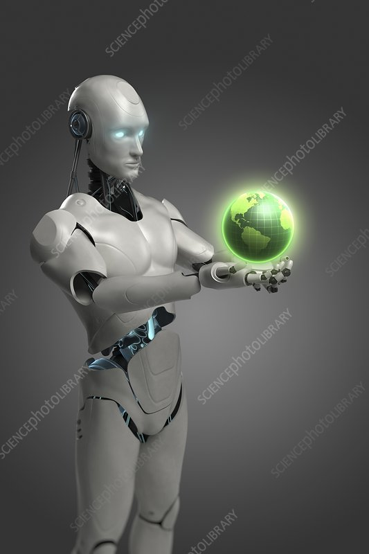 Android Holding Globe, artwork