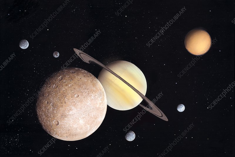 Saturn and moons, artwork