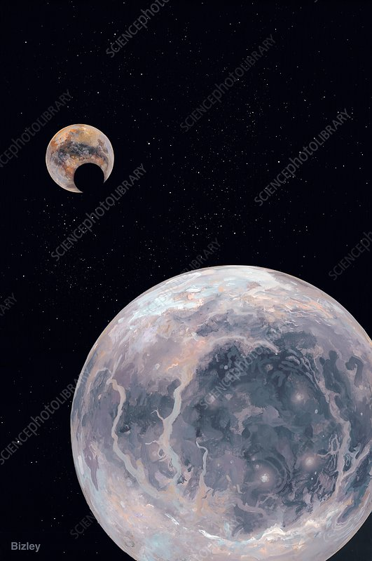 Pluto being eclipsed by Charon, artwork