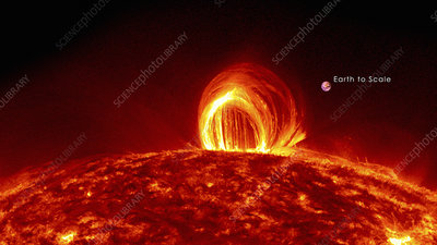 Solar plasma loops and Earth to scale